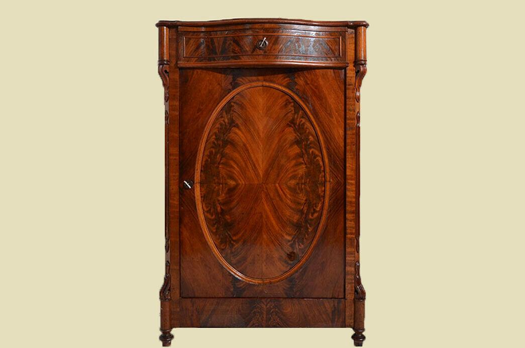 Antikes Louis Philippe Mahagoni Schrank Kommode Vertiko von 1870 1