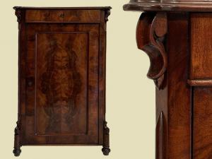 Schmales Antik Louis Philippe Mahagoni Schrank Kommode Vertiko von 1870