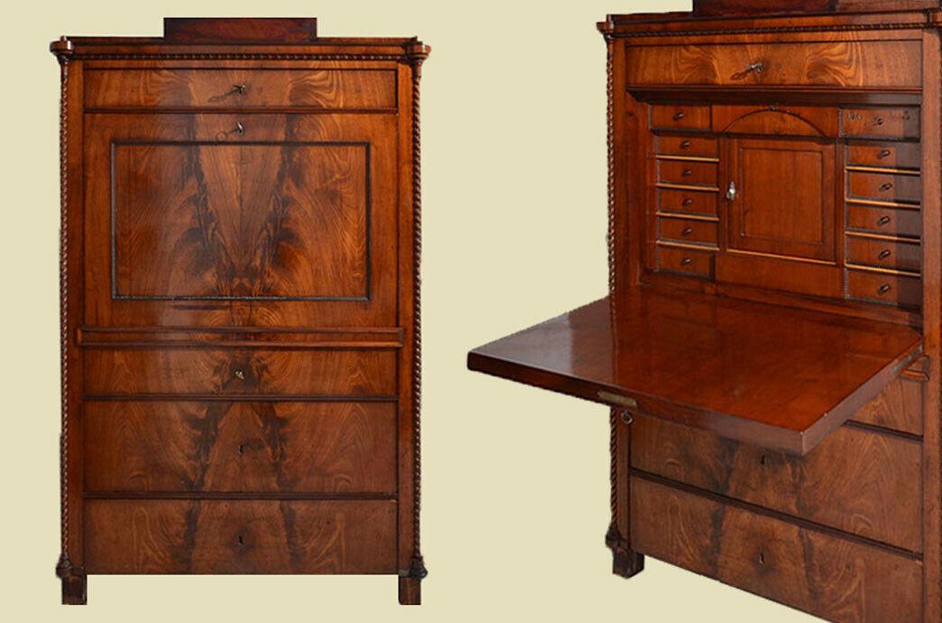 Antiker Louis Philippe Mahagoni Schreibtisch Sekretär von 1860 0
