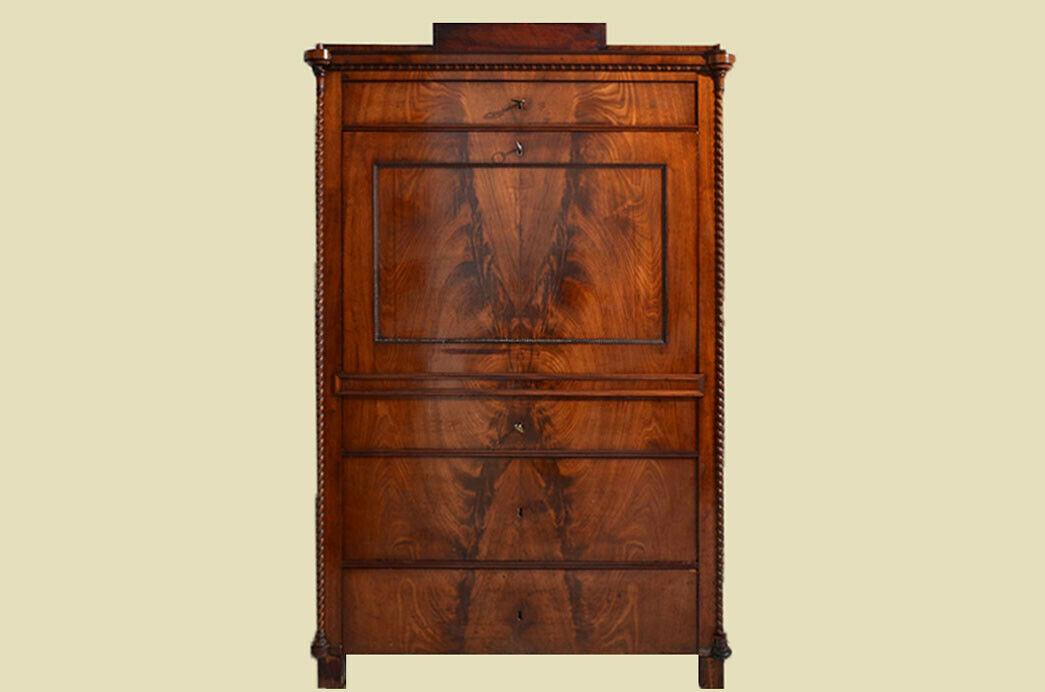 Antiker Louis Philippe Mahagoni Schreibtisch Sekretär von 1860 1
