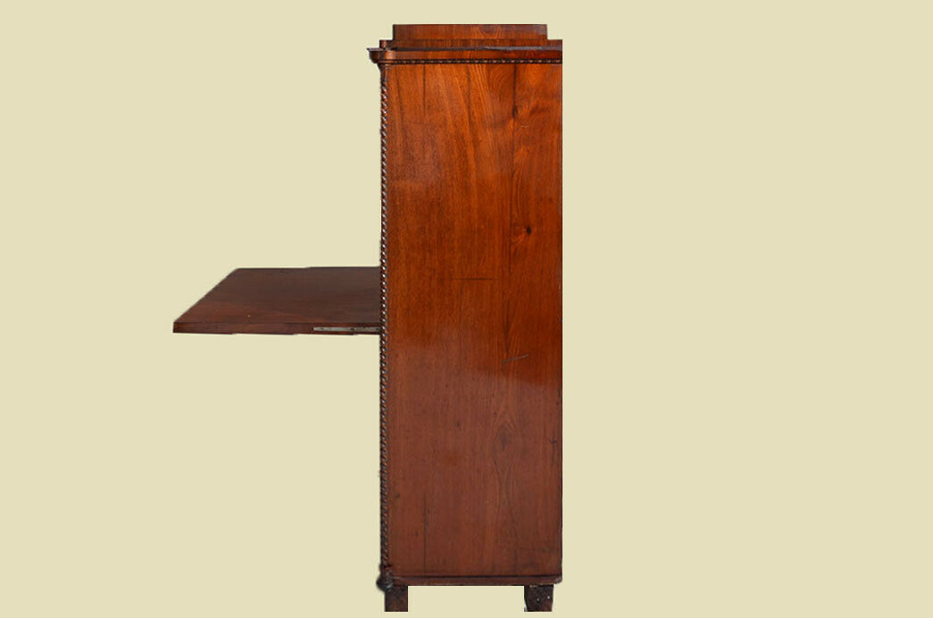 Antiker Louis Philippe Mahagoni Schreibtisch Sekretär von 1860 11