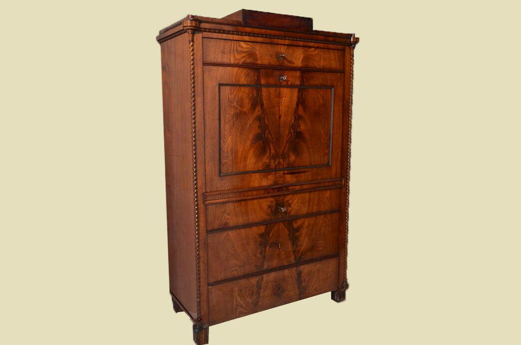 Antiker Louis Philippe Mahagoni Schreibtisch Sekretär von 1860 2