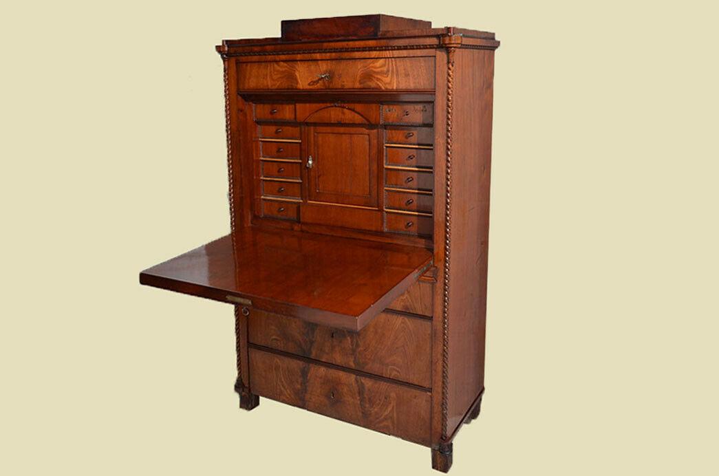 Antiker Louis Philippe Mahagoni Schreibtisch Sekretär von 1860 3