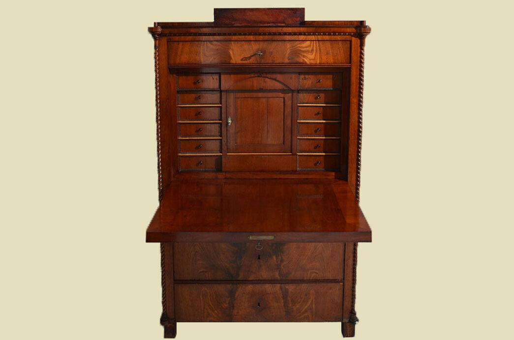 Antiker Louis Philippe Mahagoni Schreibtisch Sekretär von 1860 4