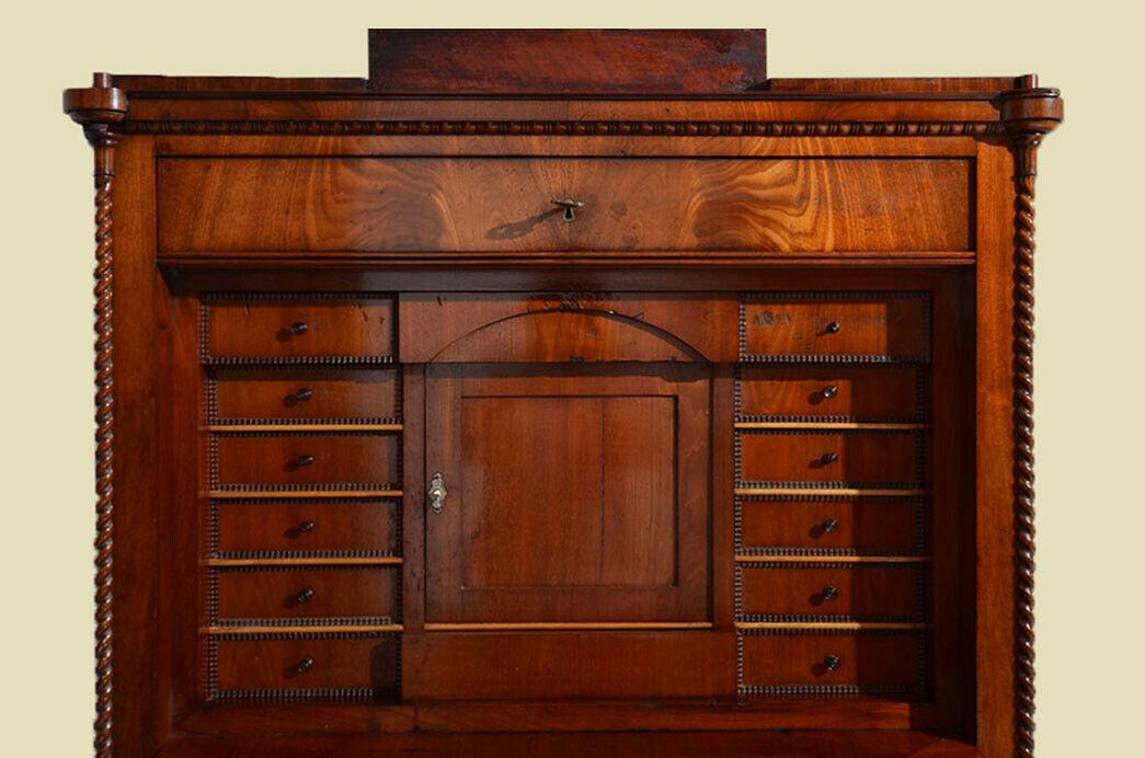 Antiker Louis Philippe Mahagoni Schreibtisch Sekretär von 1860 5
