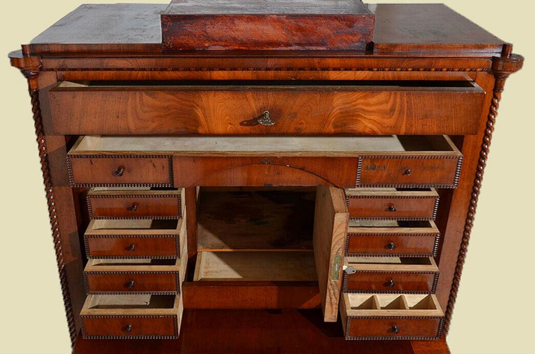 Antiker Louis Philippe Mahagoni Schreibtisch Sekretär von 1860 7