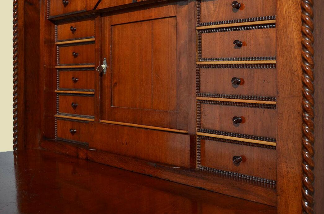 Antiker Louis Philippe Mahagoni Schreibtisch Sekretär von 1860 9