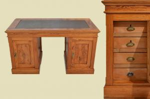 Schöner Antiker Jugendstil Schreibtisch mit Ledereinlage von 1920