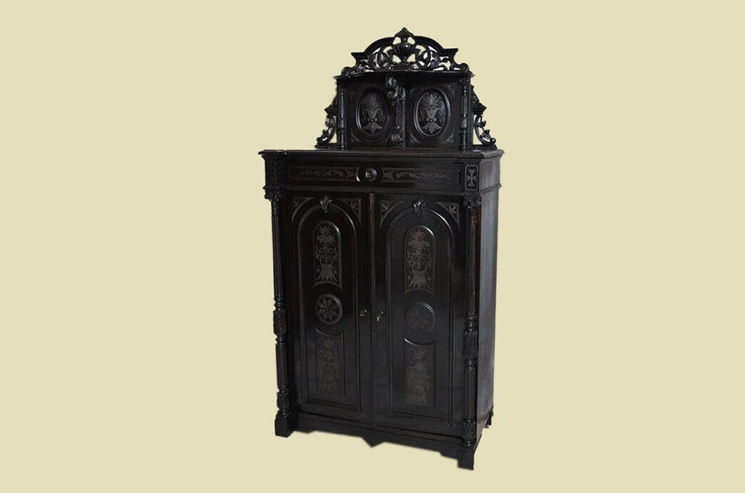 Antik Gründerzeit Groschkus Schwarz Schrank Vertiko von 1880 2
