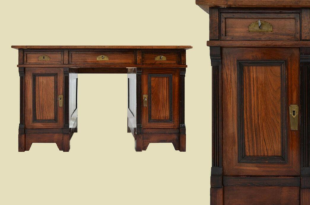 Antiker Gründerzeit Nußbaum Sekretär Schreibtisch von 1880