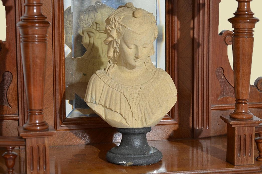 Antike Gründerzeit Historismus Vertiko Aufsatz Büste Figur von 1880 2