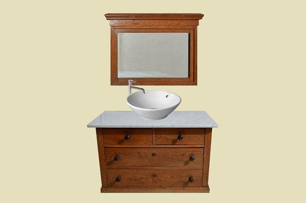 Antike Jugendstil Kommode Waschtisch mit Marmor von 1920 1