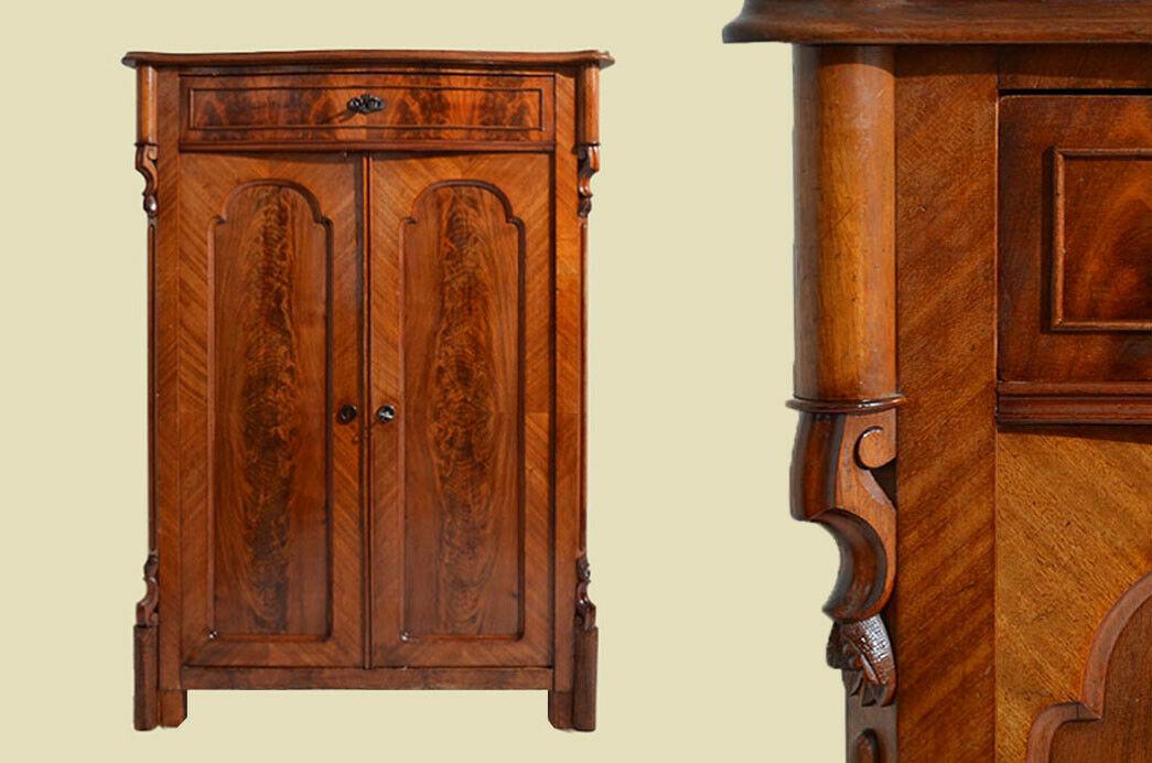 Antik Louis Philippe Mahagoni Schrank Kommode Vertiko von 1870 0