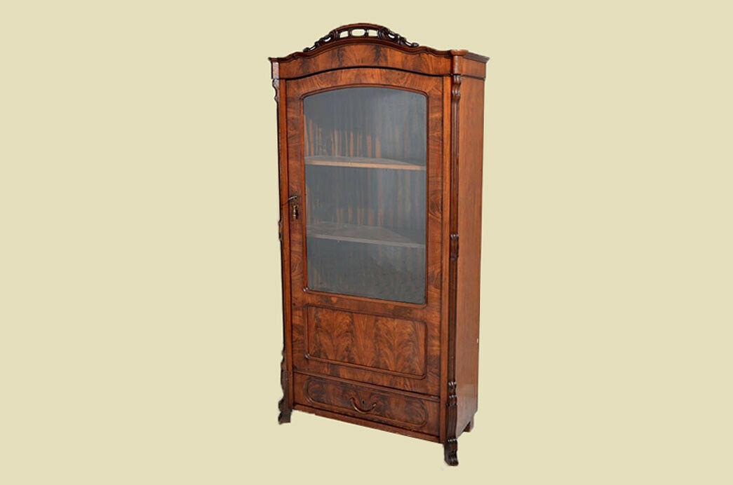 Antik Louis Philippe Mahagoni Bücherschrank Schrank Vitrine 1840 2