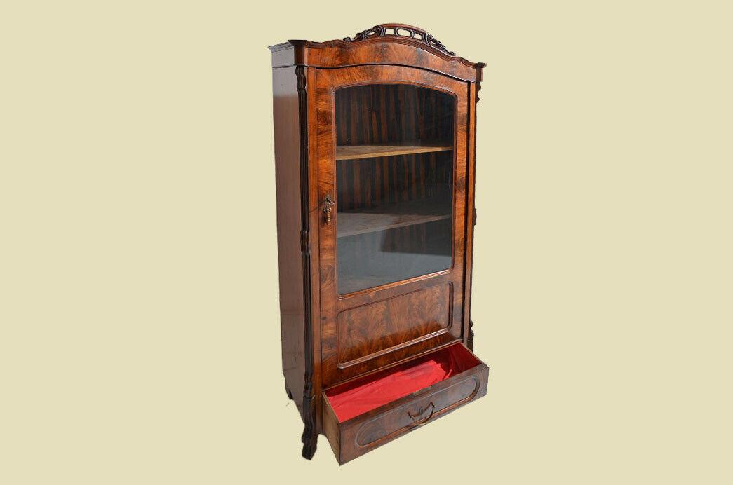 Antik Louis Philippe Mahagoni Bücherschrank Schrank Vitrine 1840 3