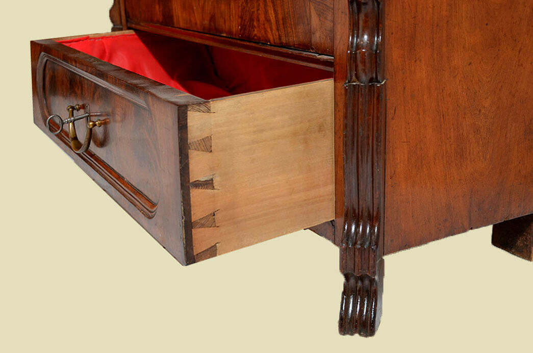 Antik Louis Philippe Mahagoni Bücherschrank Schrank Vitrine 1840 6