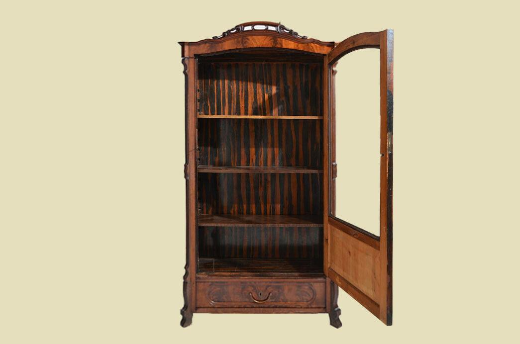 Antik Louis Philippe Mahagoni Bücherschrank Schrank Vitrine 1840 8