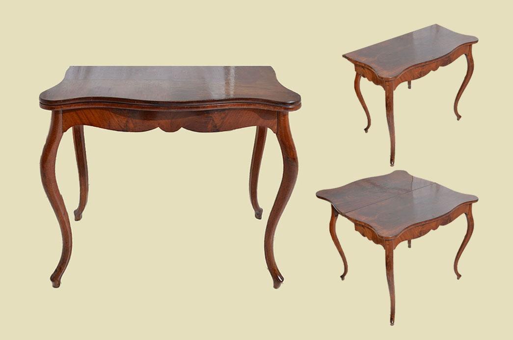 Kleiner Antiker LP Mahagoni Beistelltisch Spieltisch Tisch von 1860 0