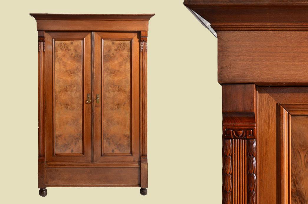 Antiker Gründerzeit Nußbaum Kleiderschrank Schrank von 1880 0