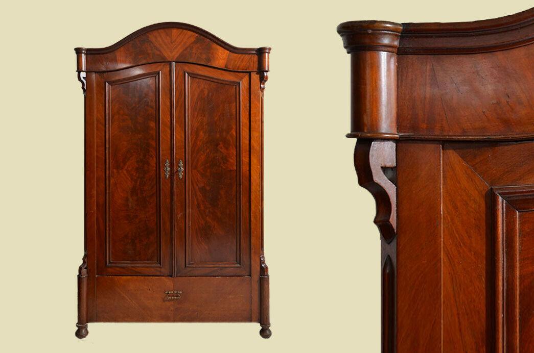 Antik Louis Philippe Mahagoni Kleiderschrank Schrank von 1860