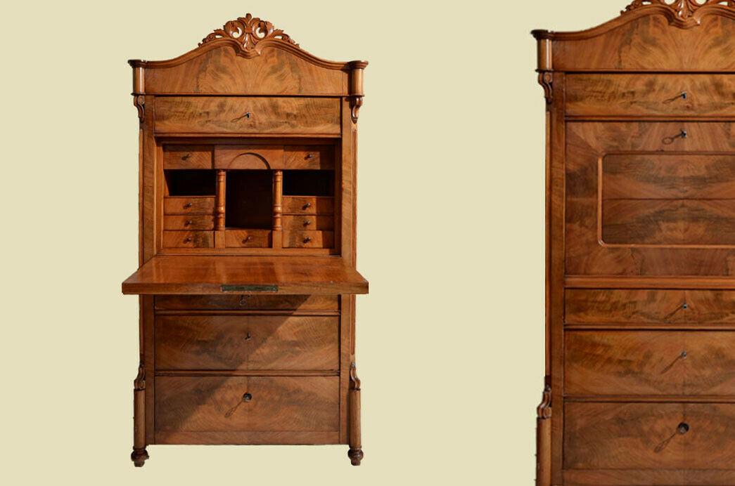 Antik Louis Philippe Nußbaum Schreibtisch Sekretär von 1860