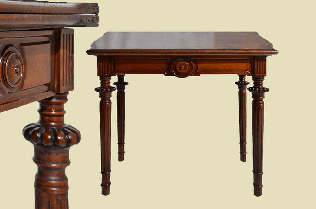 Antik Gründerzeit Nußbaum Beistelltisch Spieltisch Tisch von 1880