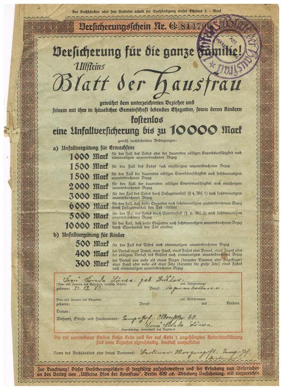Zugabe für Ullsteins `Blatt der Hausfrau` 1926
