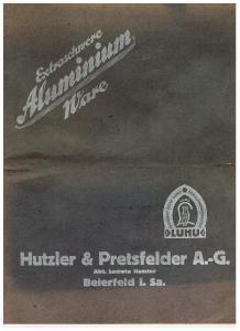Warenkatalog Aluminium Küchengeräte der Firma Hutzler & Pretsfelder A.G. Abt. Ludwig Hutzler, Beierfeld i. Sa.