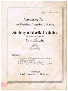 Preisliste Steingutfabrik Colditz AG