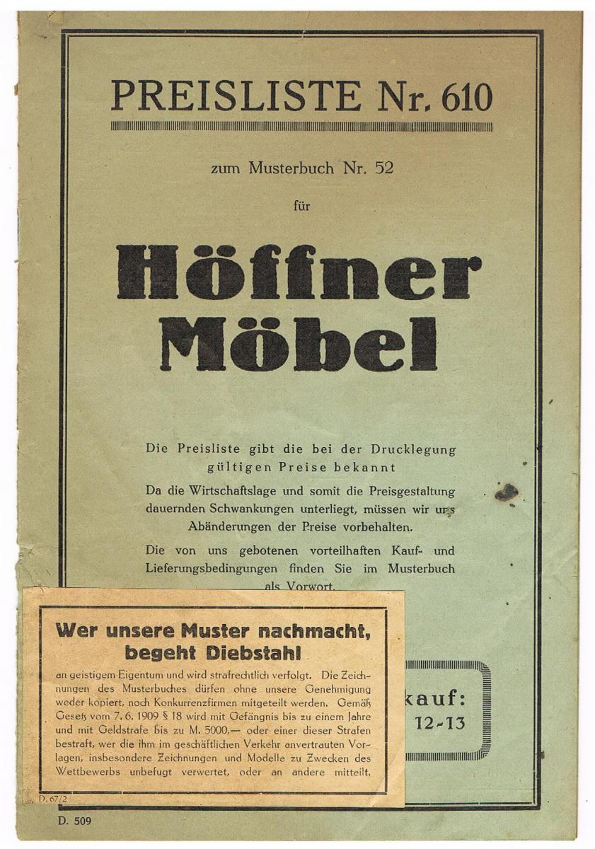 Preisliste Nr. 610 Höffner Möbel