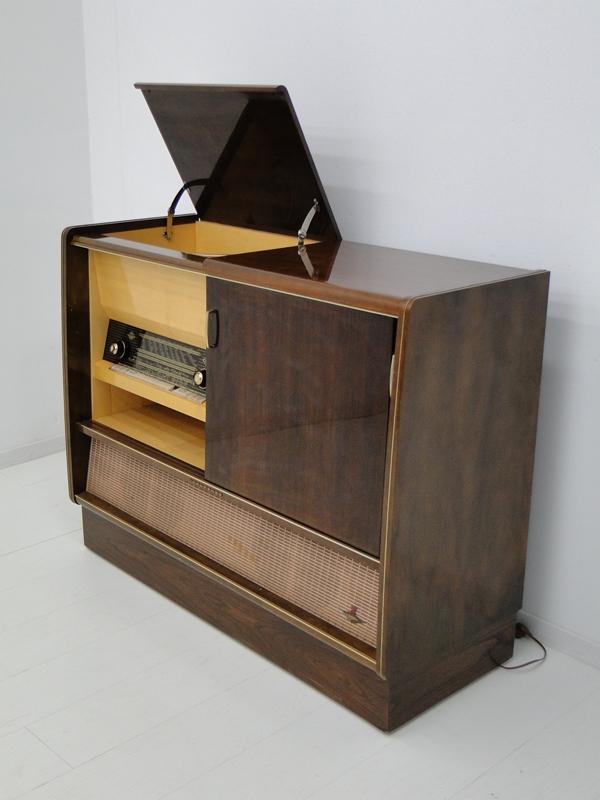 4906-Phonoschrank-Phonokasten-Radio-Sterio Exquisit-Plattenspieler-TV-Kasten-TV- 0