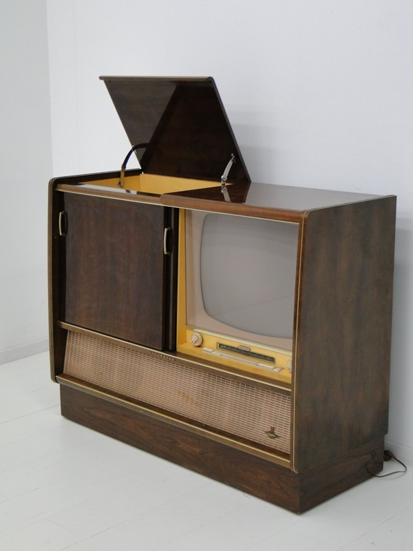 4906-Phonoschrank-Phonokasten-Radio-Sterio Exquisit-Plattenspieler-TV-Kasten-TV- 3