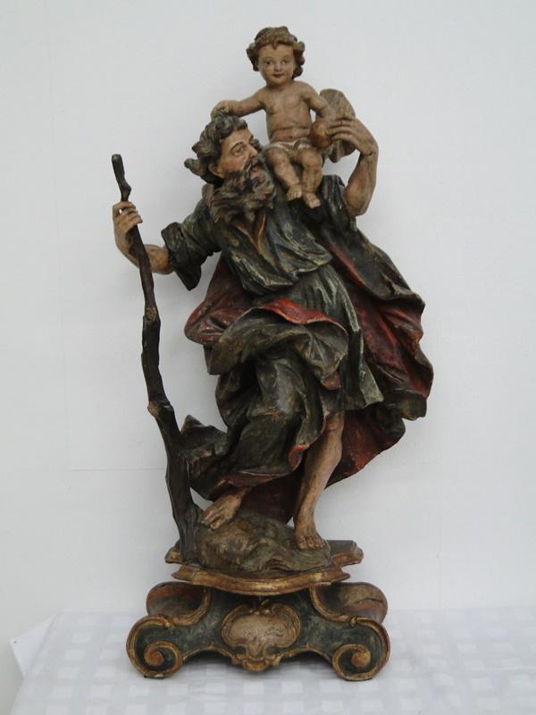 5252D-Holzfigur-Hl. Christopherus-hangeschnitze Figur-Heiligenfigur-geschnitzt-V 0