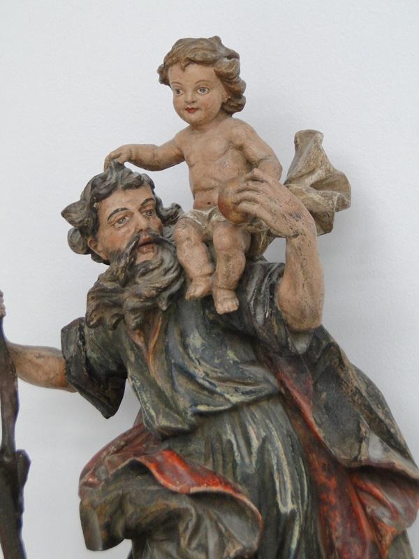 5252D-Holzfigur-Hl. Christopherus-hangeschnitze Figur-Heiligenfigur-geschnitzt-V 1