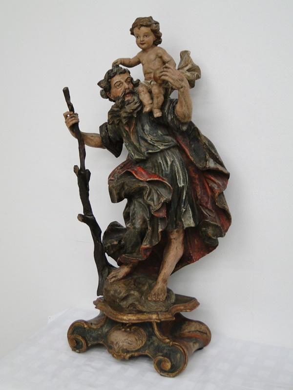 5252D-Holzfigur-Hl. Christopherus-hangeschnitze Figur-Heiligenfigur-geschnitzt-V 3