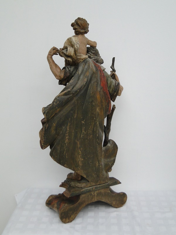 5252D-Holzfigur-Hl. Christopherus-hangeschnitze Figur-Heiligenfigur-geschnitzt-V 4