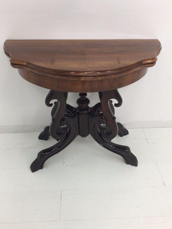 Biedermeier Konsolentisch-aufklappbar-Spieltisch-Tisch-BIedermeier Tisch 0