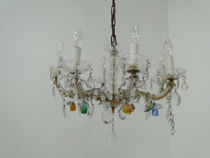 5371D-Luster-Deckenleuchte-Kronleuchter-geschleiftes Glas-Buntglas-Lüster