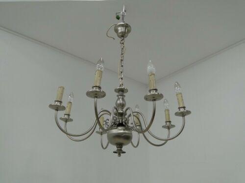 5052D-Luster-Deckenleuchte-Kronleuchter-Lüster-Lampe-Nirosta gebürstet