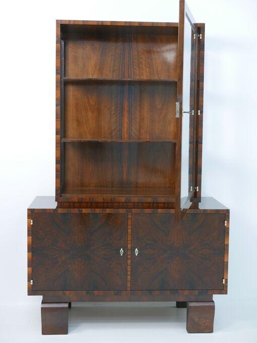 3304-Art Deco Vitrine-Vitrine-Büchervitrine-Art Deco-Art Deco Büchervitrine-Kast 0