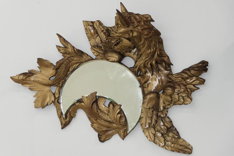 3568D-Spiegel-Drachenspiegel-Wandspiegel-Sichelmondspiegel-Drache-geschnitzt-Hol