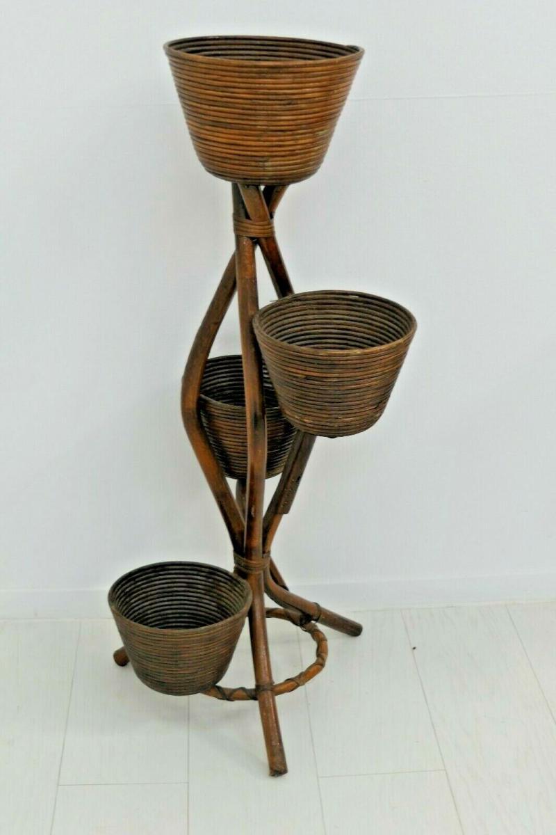6034-Bambusblumenständer-Rattanblumenständer-Pflanzständer-Thonet-Blumenständer 2
