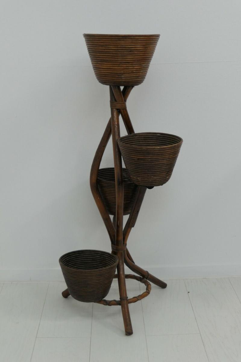 6034-Bambusblumenständer-Rattanblumenständer-Pflanzständer-Thonet-Blumenständer 4