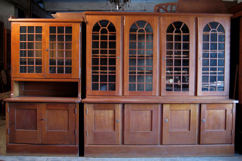 Zwei schöne Jugendstil Bücherschränke gefertigt um 1900 Eiche Antik Kolosseum 0