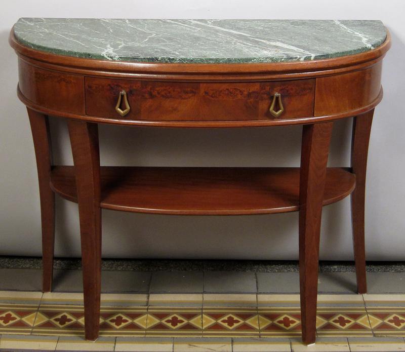 Art Deco Beistelltisch / Konsoltisch mit Schublade / MarmorplatteAntik Kolosseum 0