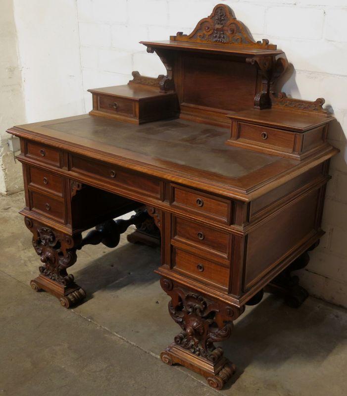 Schöner Gründerzeit Damen Schreibtisch Mit Fantastischem Aufsatz