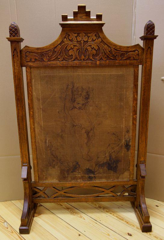 Neogotischer Eiche Paravant mit Gobelinbezug gefertigt um 1880 Antik Kolosseum