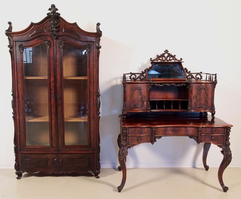 Louis Philippe Damen - Schreibtisch mit geschnitzten Kronen Antik ...