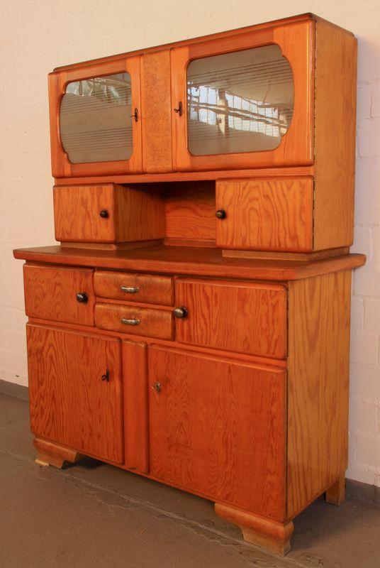 Schönes 30er jahre weichholz küchenbuffet / küchenschrank antik ...