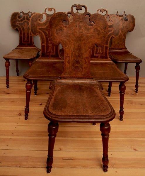 Sechs süddeutsche Gründerzeit Brettstühle aus Nussbaum Antik Kolosseum